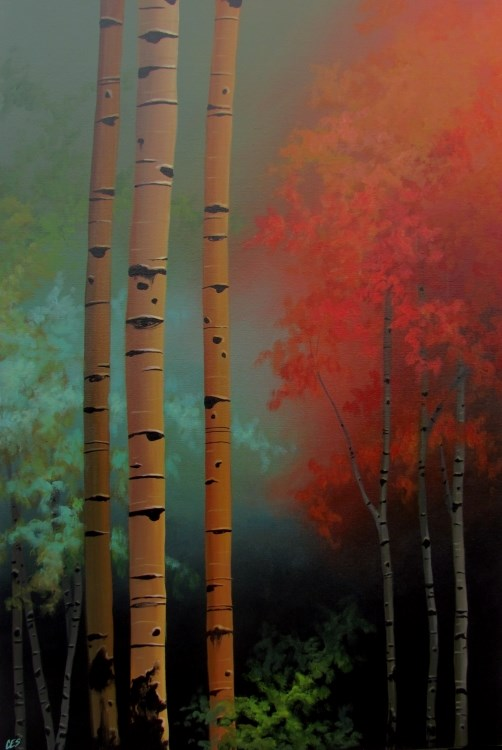 """Birch Confetti"" original fine art by ~ces~ Christine E. S. Code"