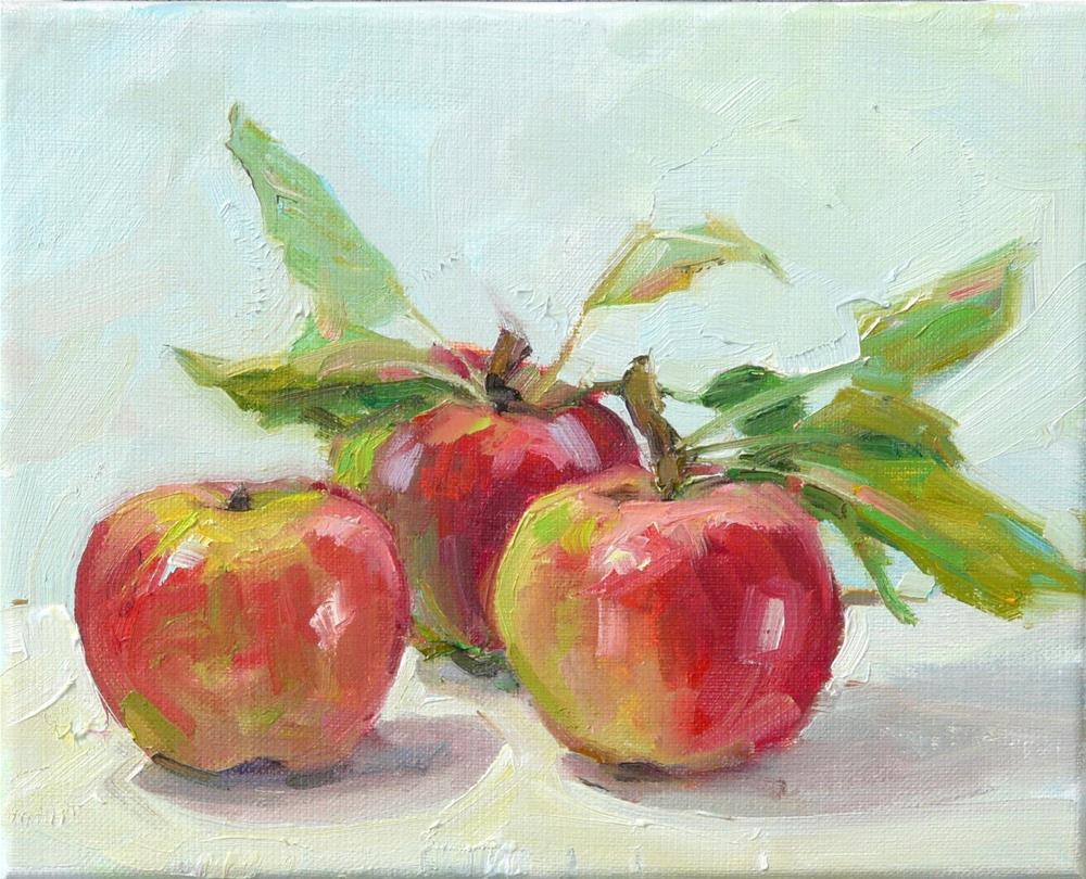 """Late September Apples,still life,oil on Linen,8x10,price$300"" original fine art by Joy Olney"