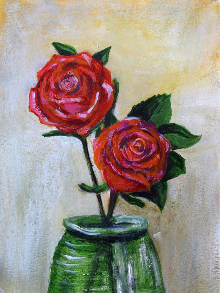 """Red Roses, Green Jar"" original fine art by Susan  Mackenzie"