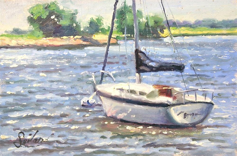 """Sailboat Waiting"" original fine art by Larry Seiler"