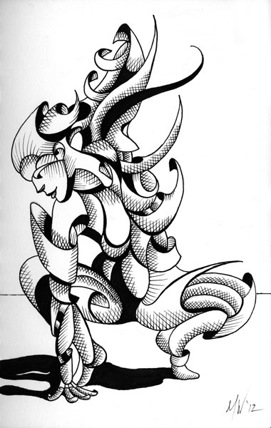 """Mark Adam Webster - Lexi - Abstract Geometric Futurist Figurative Ink Drawing"" original fine art by Mark Webster"