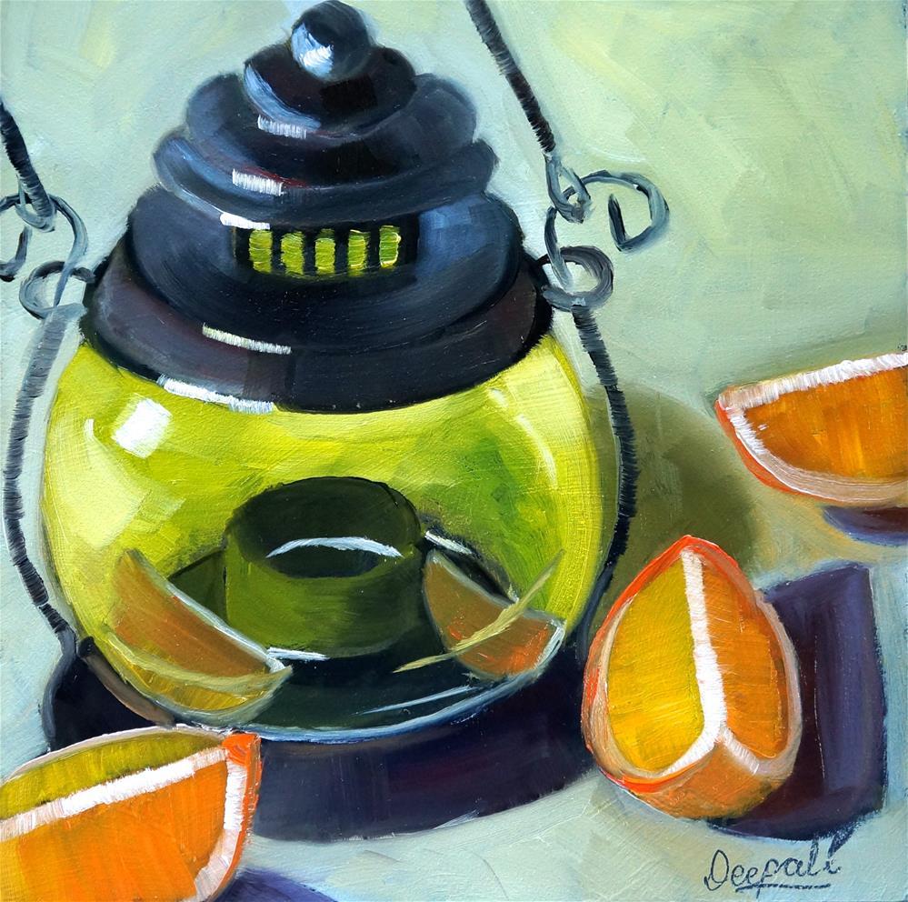 """Lantern with orange slices"" original fine art by Dipali Rabadiya"