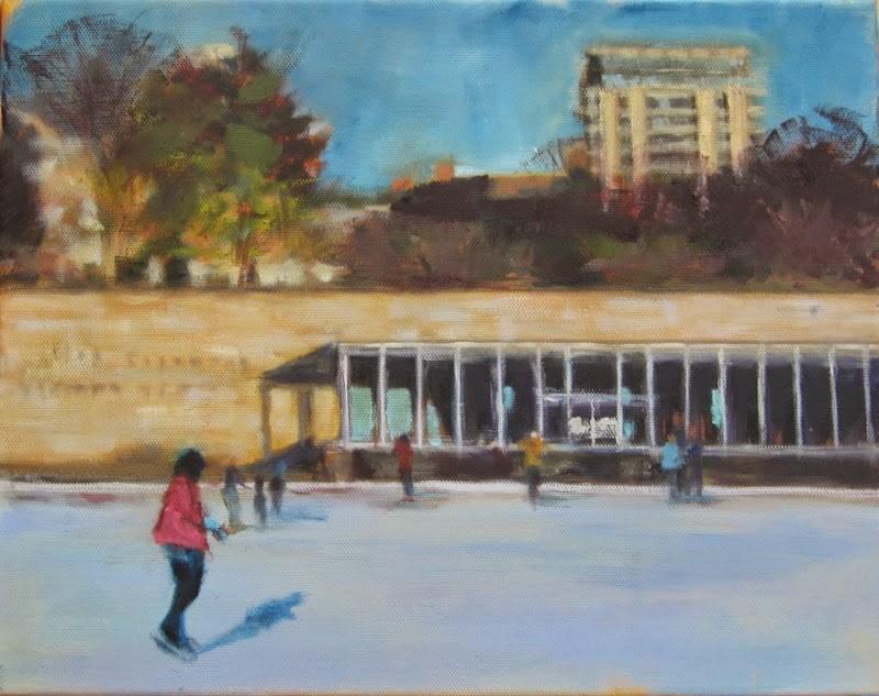 """""""Steinberg skating rink"""" original fine art by Sandy Haynes"""