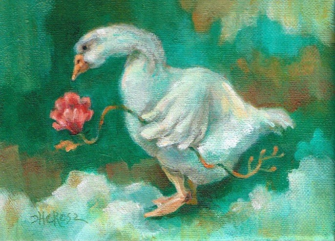 """Goose in a Green Grotto"" original fine art by Theresa Taylor Bayer"