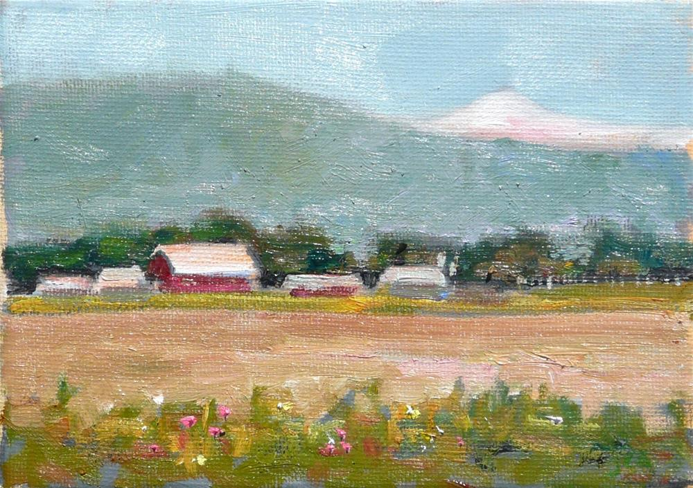 """Mt Baker Valley,landscape,oil on canvas,5x7,price$150"" original fine art by Joy Olney"