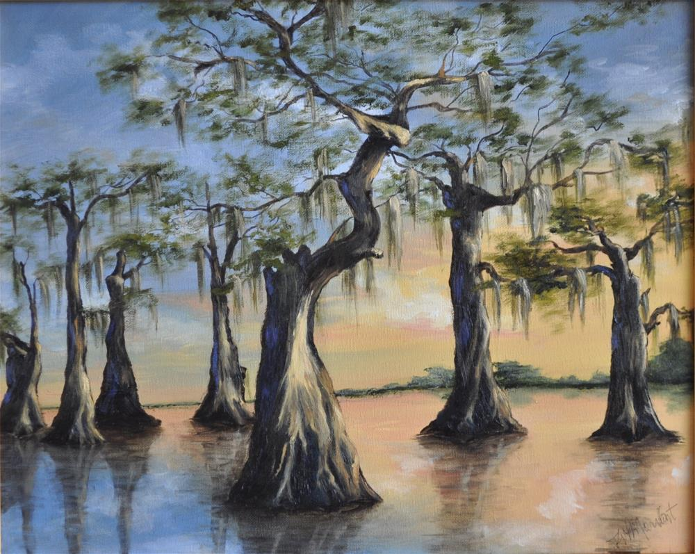 """Cypress Sunset"" original fine art by Peggy W Morvant"