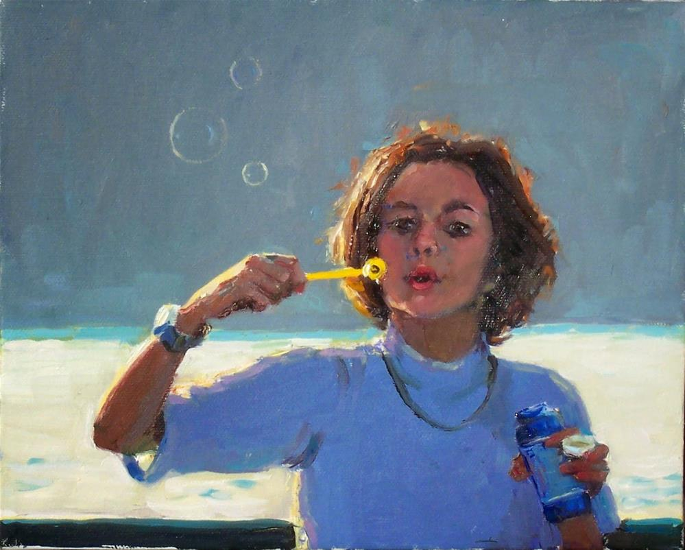 """Bubbles on the Ferry,Portrait,oil on canvas,8x10,price$550"" original fine art by Joy Olney"