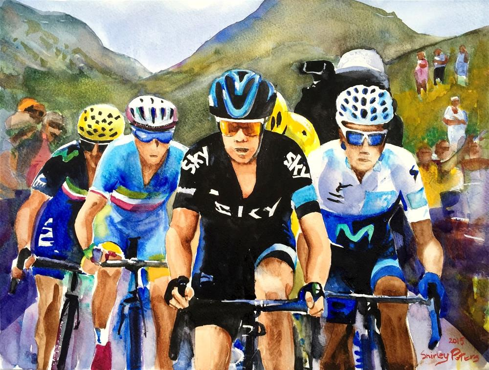 """Porte, Quintana, Froome and Nibali."" original fine art by Shirley Peters"
