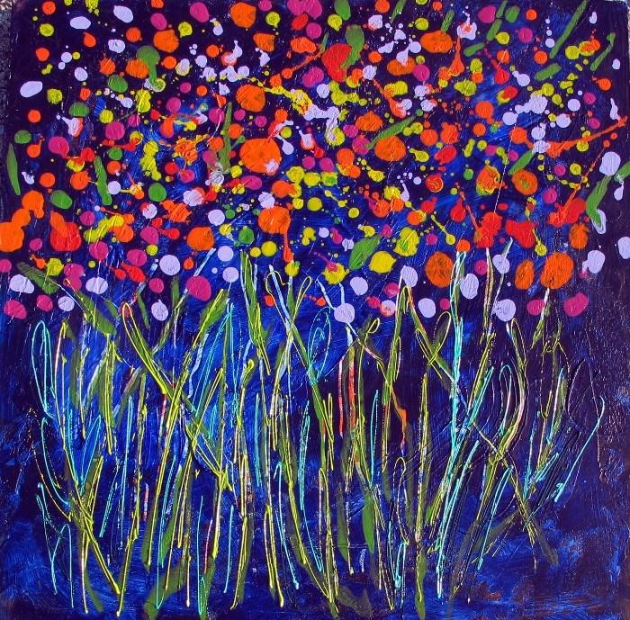 """Polka Dot Roses 3, 12072"" original fine art by Nancy Standlee"