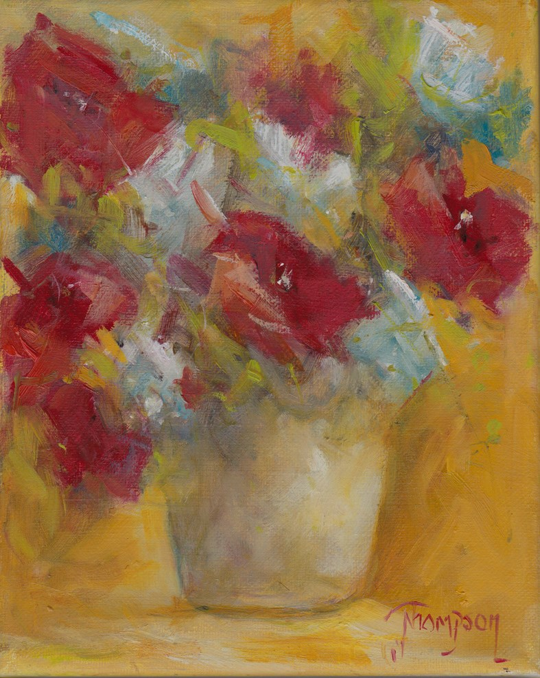 """Bucket of Red Flowers"" original fine art by Norma Thompson"
