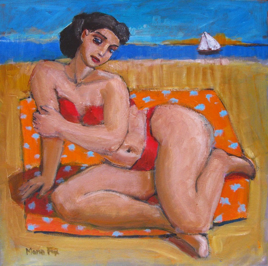 """Figurative painting of woman in bikini at beach ocean, figuration, sailboat, contemporary figure pai"" original fine art by Marie Fox"