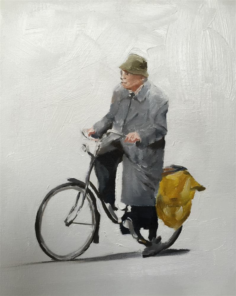 """Man on Bike"" original fine art by James Coates"