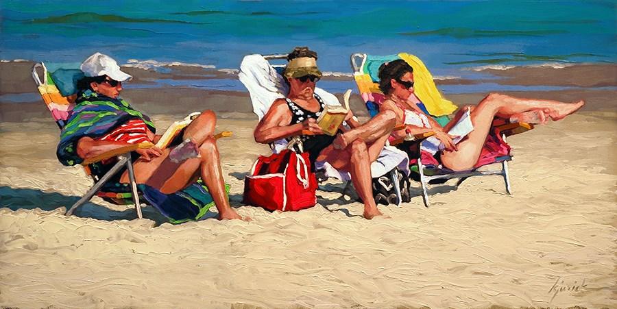 """Folly Beach Book Club"" original fine art by Karin Jurick"