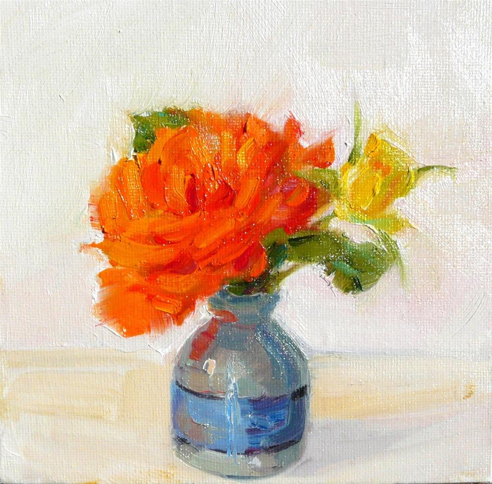 """Orange and Yellow Roses,still life,oil on canvas,6x6,price$175"" original fine art by Joy Olney"