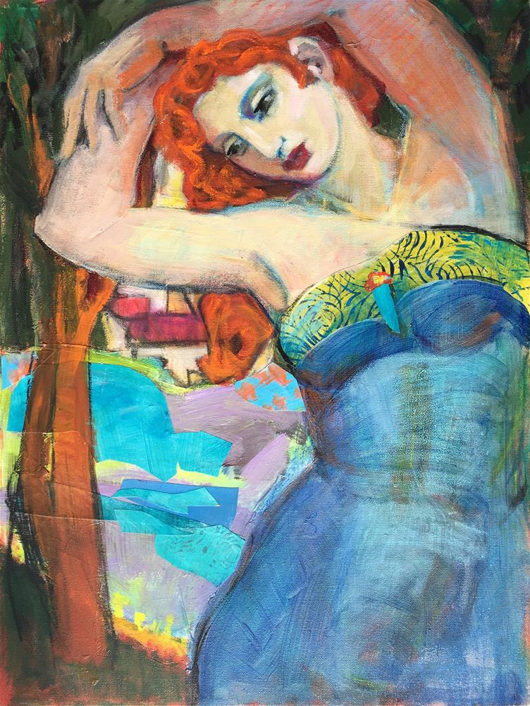 """Spring Emerges, figurative woman nymph. lake, village, woods, early Spring, contemporary figure pain"" original fine art by Marie Fox"