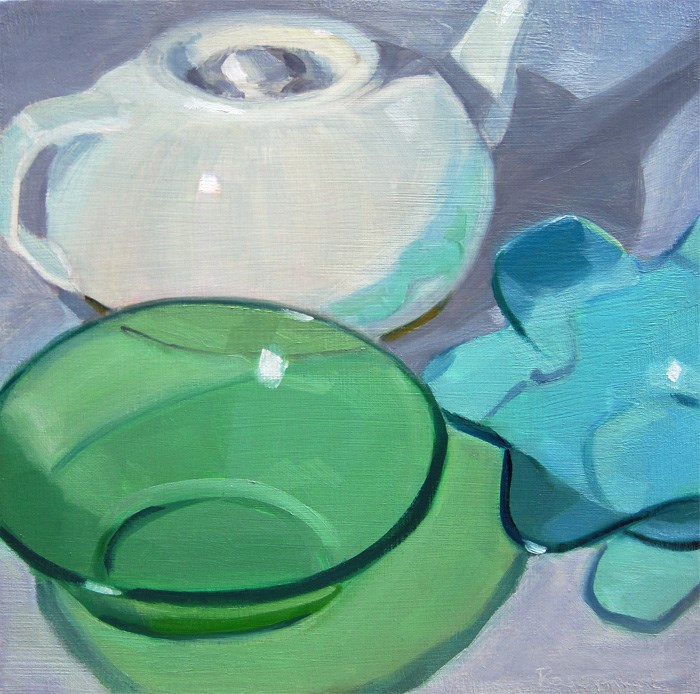 """Two Bowls in Front"" original fine art by Robin Rosenthal"