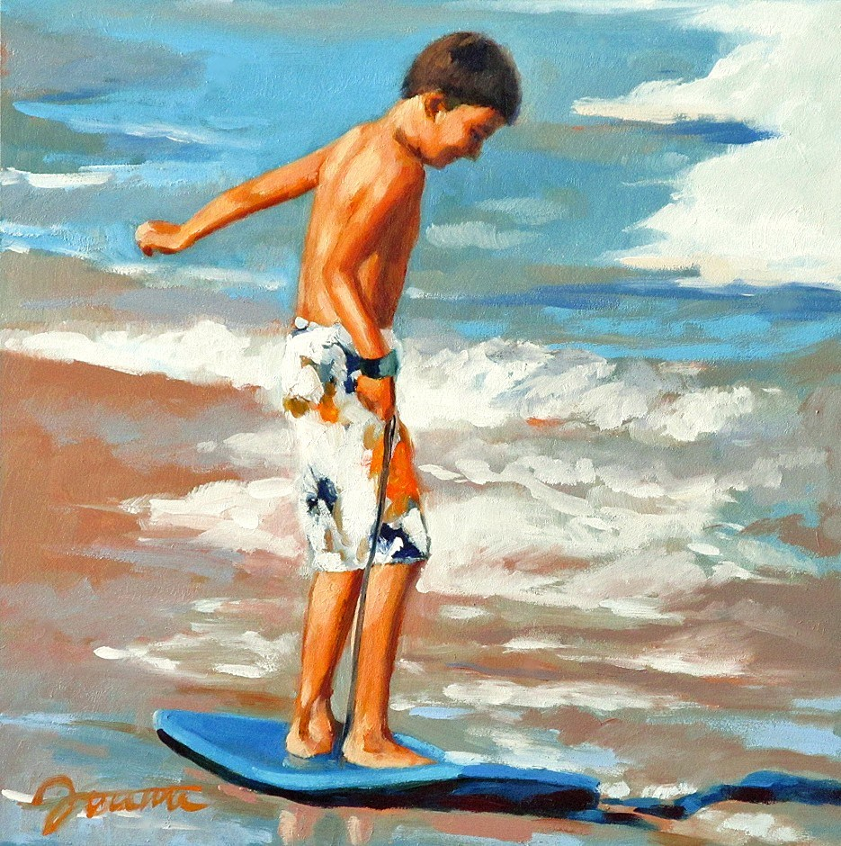 """Practice First--Series Painting of Children On the Beach"" original fine art by Joanna Bingham"