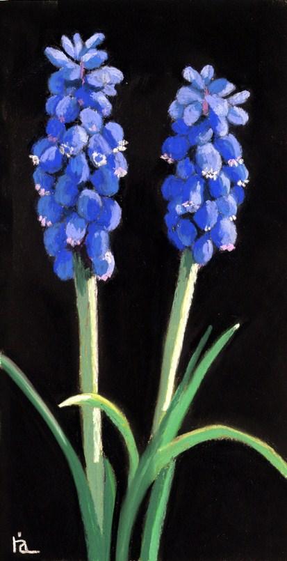 blue bell flowers painting original fine art by Ria Hills