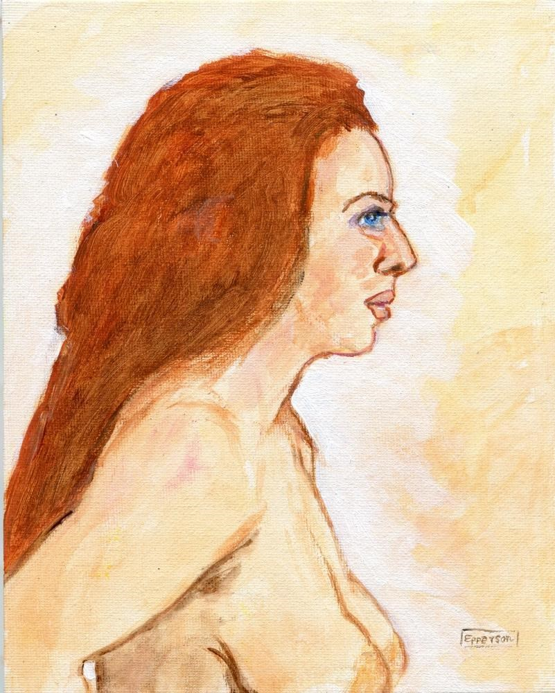 """""""Woman with Red Hair"""" original fine art by Stanley Epperson"""