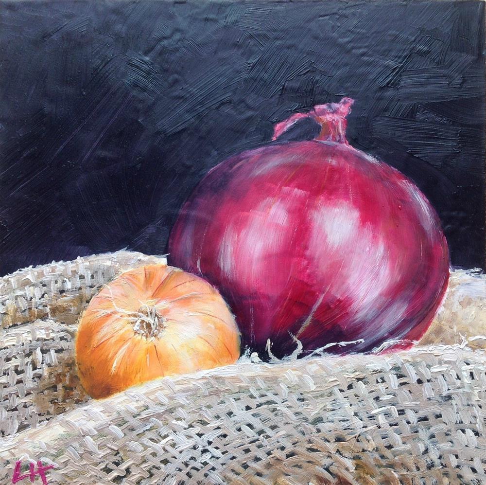 """purple and orange, two onions"" original fine art by Hui (Hue) Li"