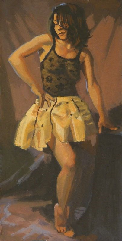 """Yellow skirt"" original fine art by Peter Orrock"