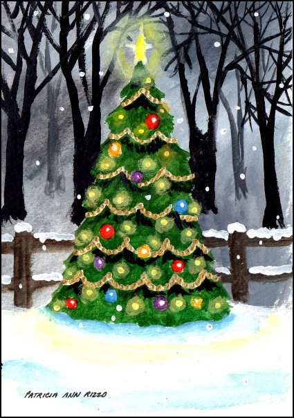 """Outdoor Christmas Tree"" original fine art by Patricia Ann Rizzo"