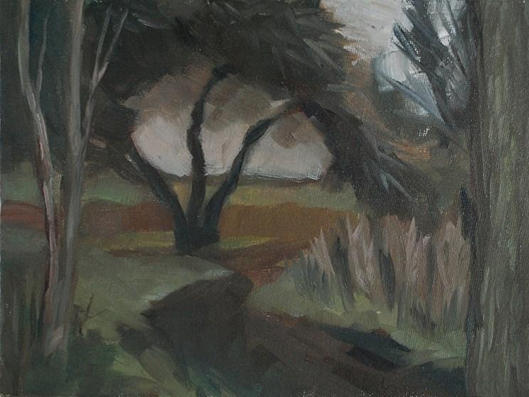 """""""Dark Tree (Plein Air)"""" original fine art by J M Needham"""