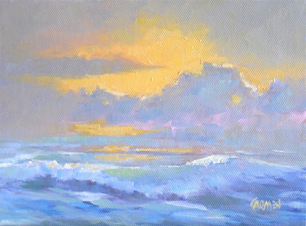 """Sunrise on the Beach, 8x6 Original Oil on Canvas Seascape"" original fine art by Carmen Beecher"