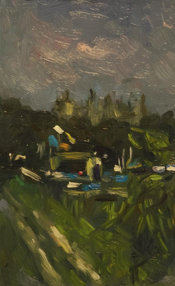 """Arundel Castle (with flags)"" original fine art by Andre Pallat"