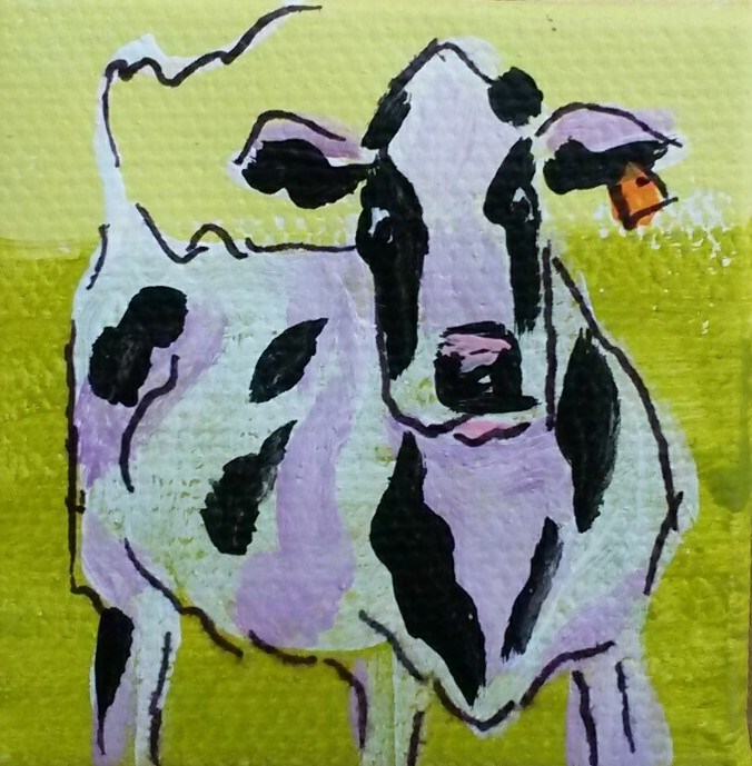 """""""Itty Bitty Cow3"""" original fine art by Terri Einer"""