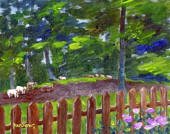 """ORIGINAL PAINTING OF LAZY COWS"" original fine art by Sue Furrow"