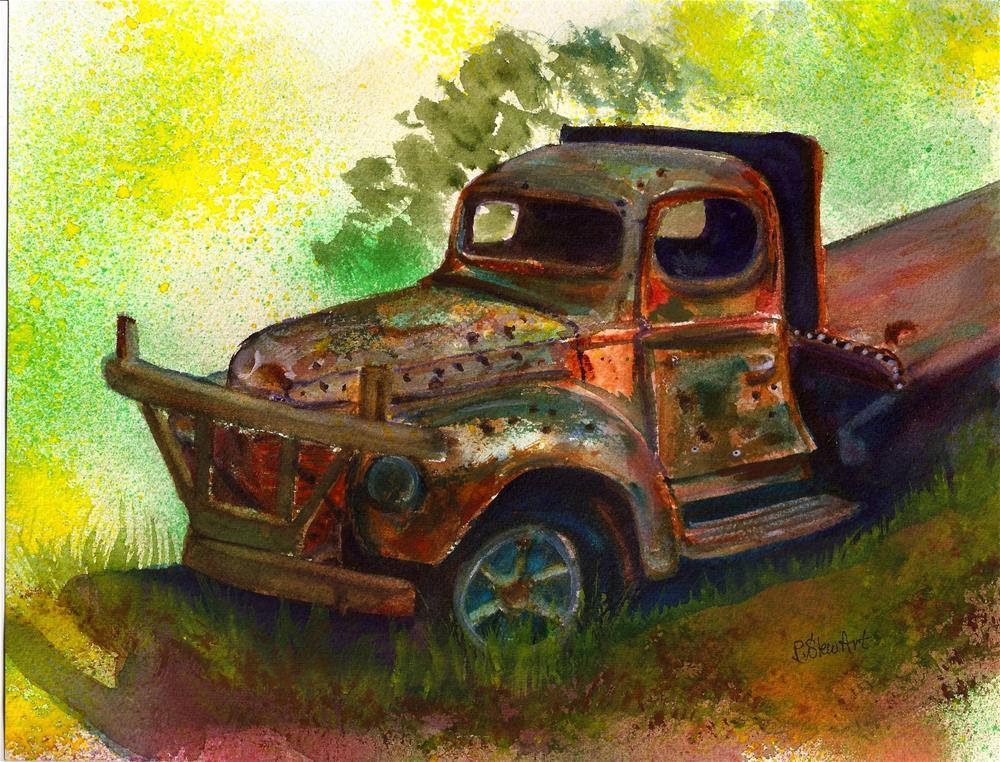 """8.5 x 11 Rusty Old Truck with Bullet Holes Watercolor by Penny StewArt"" original fine art by Penny Lee StewArt"