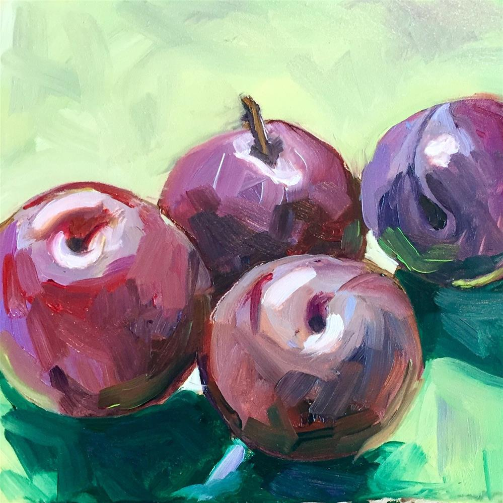 """Four Plums"" original fine art by Donna Raven"