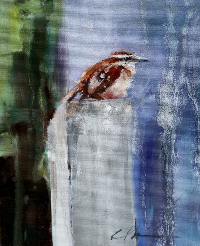 """Wren in the Rain"" original fine art by Clair Hartmann"