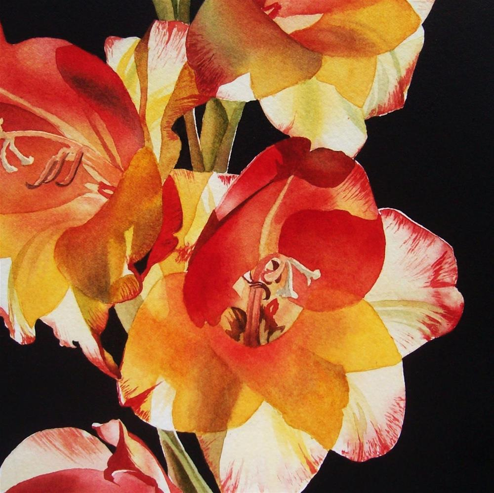 """Red & Yellow Gladiola"" original fine art by Jacqueline Gnott, TWSA, WHS"