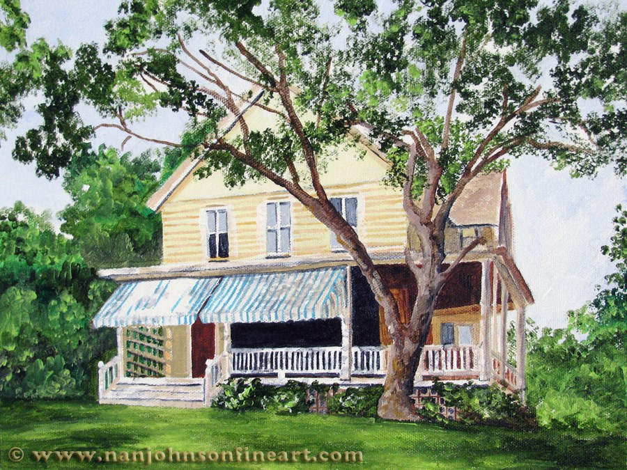 """Blue Striped Awnings"" original fine art by Nan Johnson"