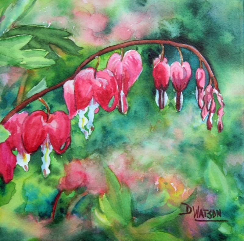 """Bleeding Hearts"" original fine art by Deb Watson"