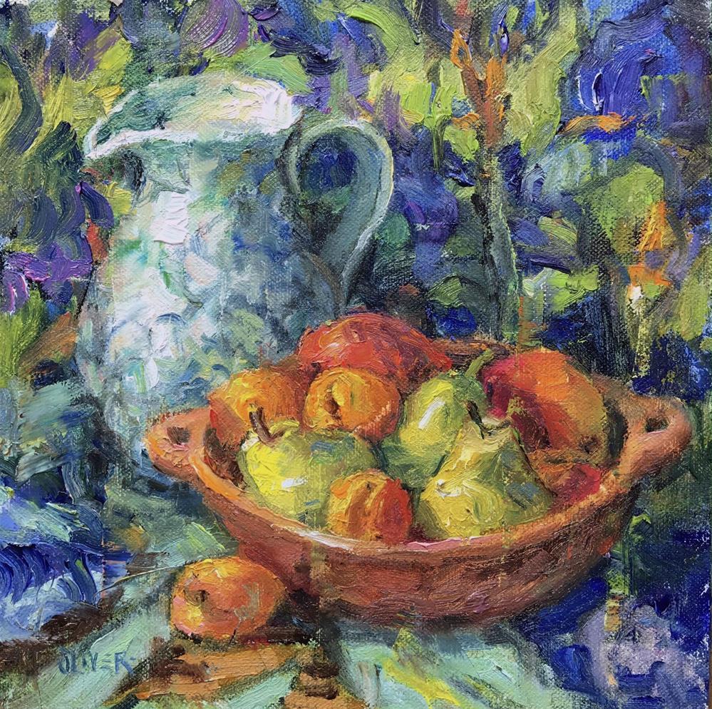 """""""Vincent's Irises And Fruit"""" original fine art by Julie Ford Oliver"""