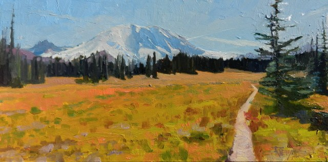 """Mount Rainier from Gand Park plein air,landscape, oil painting, by Robin Weiss"" original fine art by Robin Weiss"
