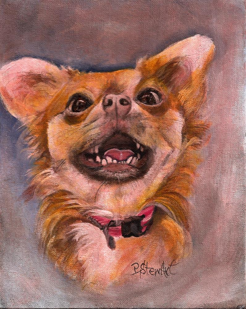 """8x10 Smiling Long Haired Chihuahua Puppy Dog Pet Portrait by Penny StewArt"" original fine art by Penny Lee StewArt"