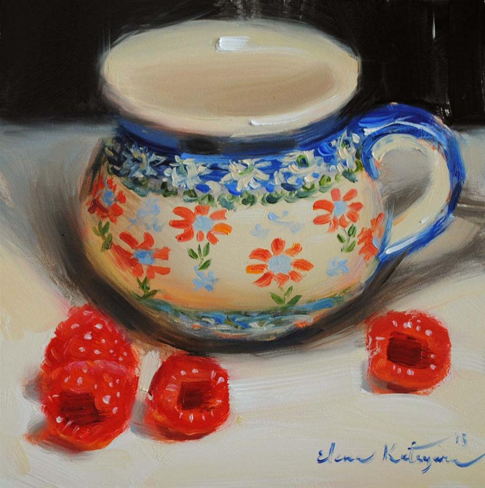"""A Bowl and Four Raspberries"" original fine art by Elena Katsyura"