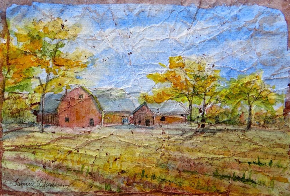"""Autumn Barns"" original fine art by Tammie Dickerson"