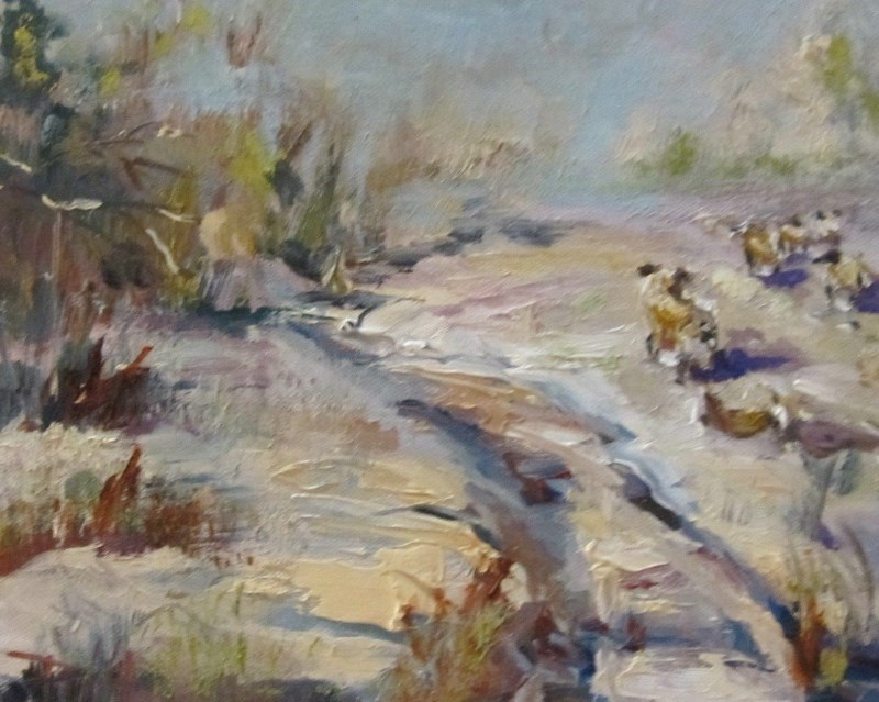 """Winter Sheep"" original fine art by Delilah Smith"