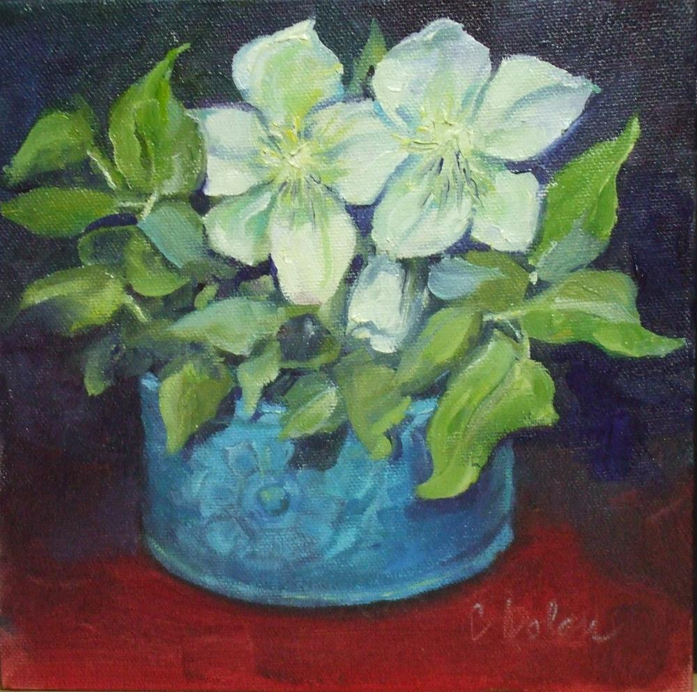 """Winter White Hellebore"" original fine art by Cheryl Williams Dolan"