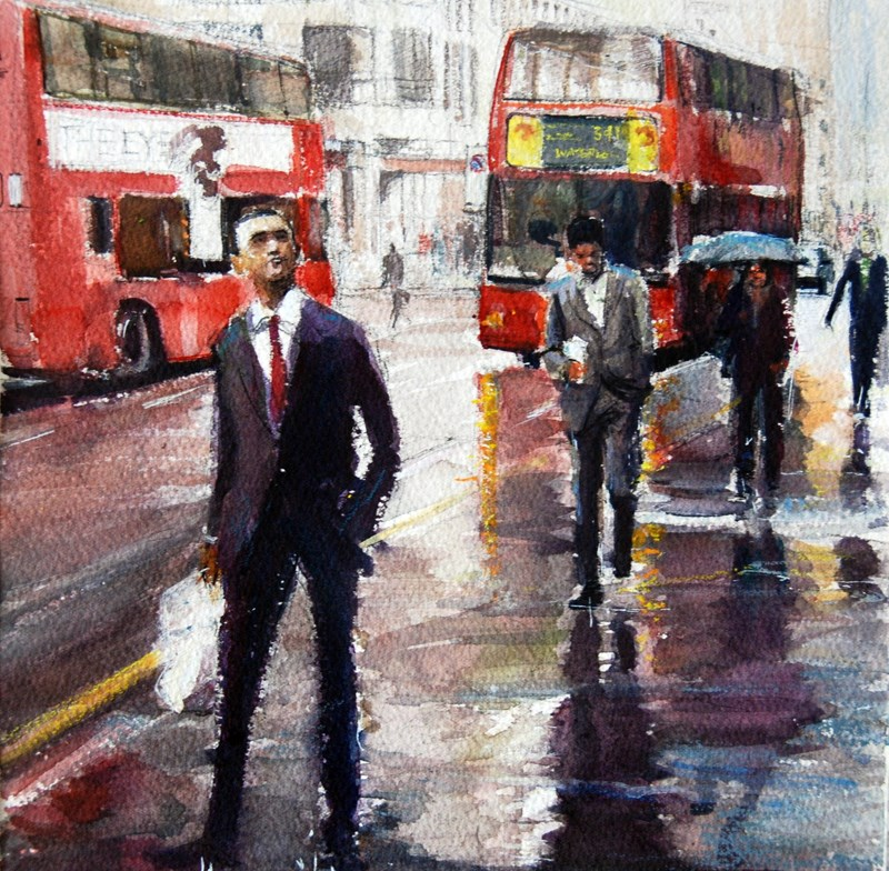 """Rainy Day on Fleet Street"" original fine art by Adebanji Alade"