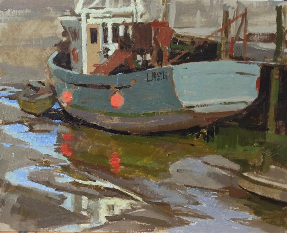 """Reflections at low tide, Brancaster Staithe"" original fine art by Haidee-Jo Summers ROI"