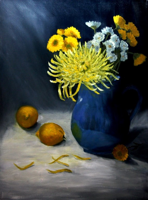 """Blue and Yellow"" original fine art by Mary Datum"