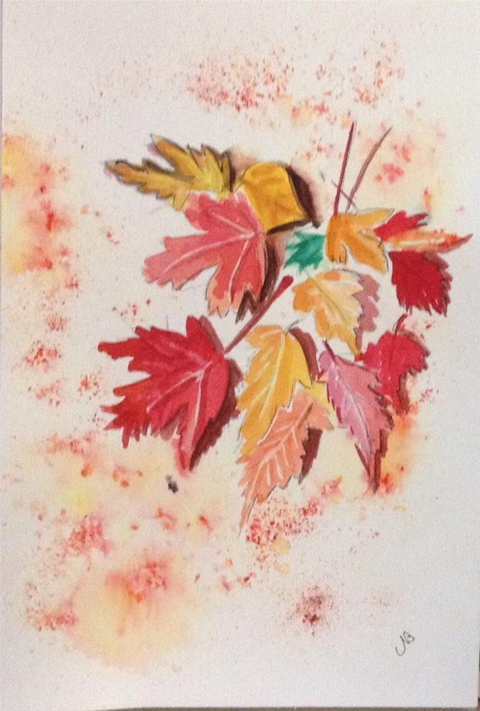 """""""Fallen Fall Leaves Watercolor  9 x 6"""" original fine art by Nancy Beard"""