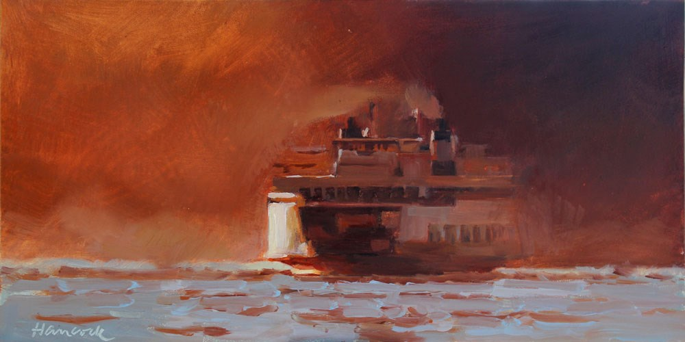 """Red Sunset Ferry"" original fine art by Gretchen Hancock"
