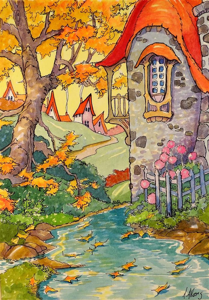 """The Autumn Pool Storybook Cottage Series"" original fine art by Alida Akers"